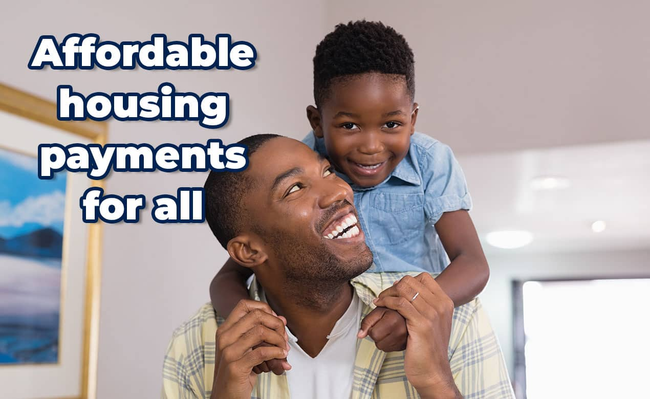 Married couple learning about affordable housing payment plans